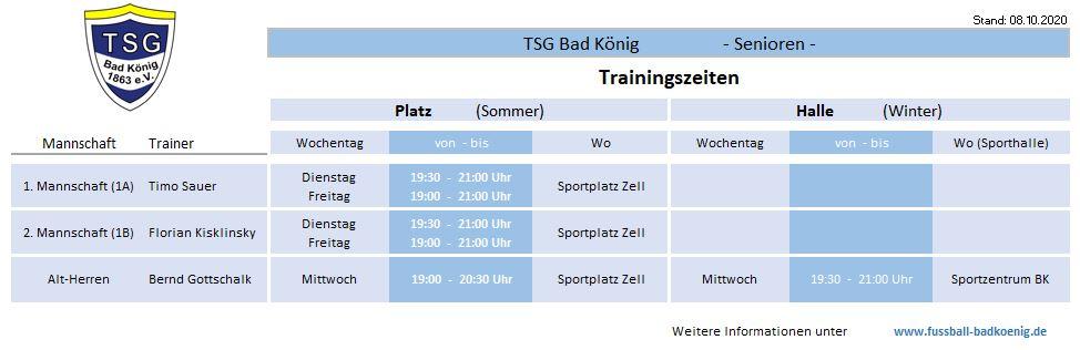 Trainingszeiten Senioren TSG Bad König